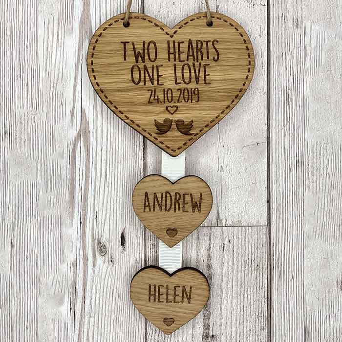 Little Gifts With Love - Personalised 2 Hearts One Love Hanging Heart Wedding Anniversary Valentines Gift