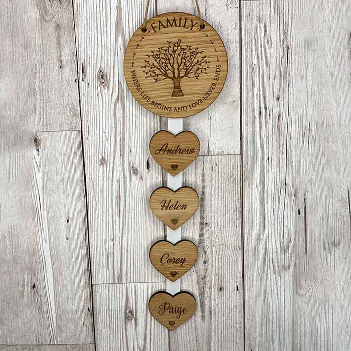 Little Gifts With Love - Personalised Family Where Life Begins Hanging Heart New Home Housewarming Gift