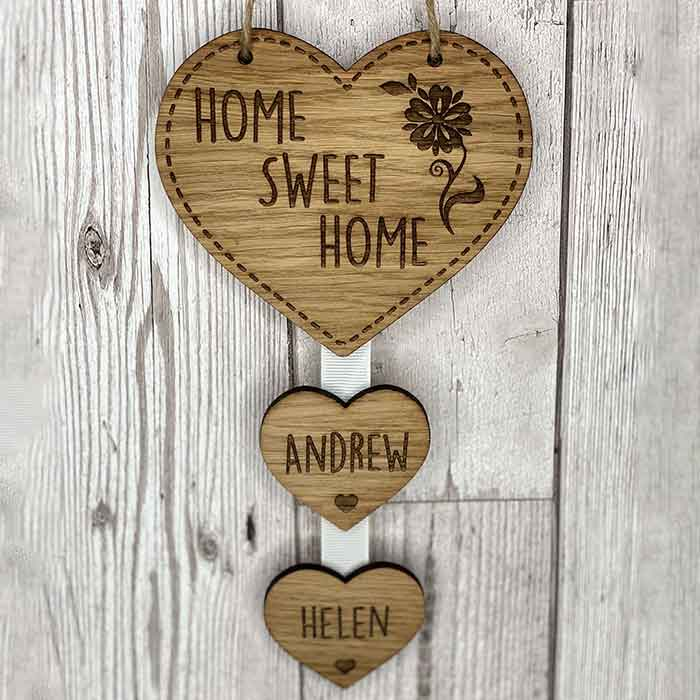 Little Gifts With Love - Personalised Home Sweet Home Hanging Heart New Home Housewarming Gift