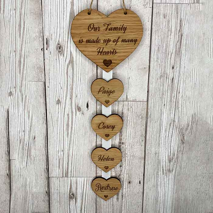 Little Gifts With Love - Personalised Our Family Made Up Of Many Hearts Hanging Heart Housewarming Gift