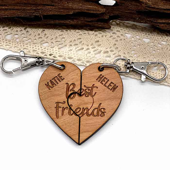 Little Gifts With Love - Set of 2 x Personalised Best Friends Heart Shape Jigsaw Puzzle Keyrings Gift