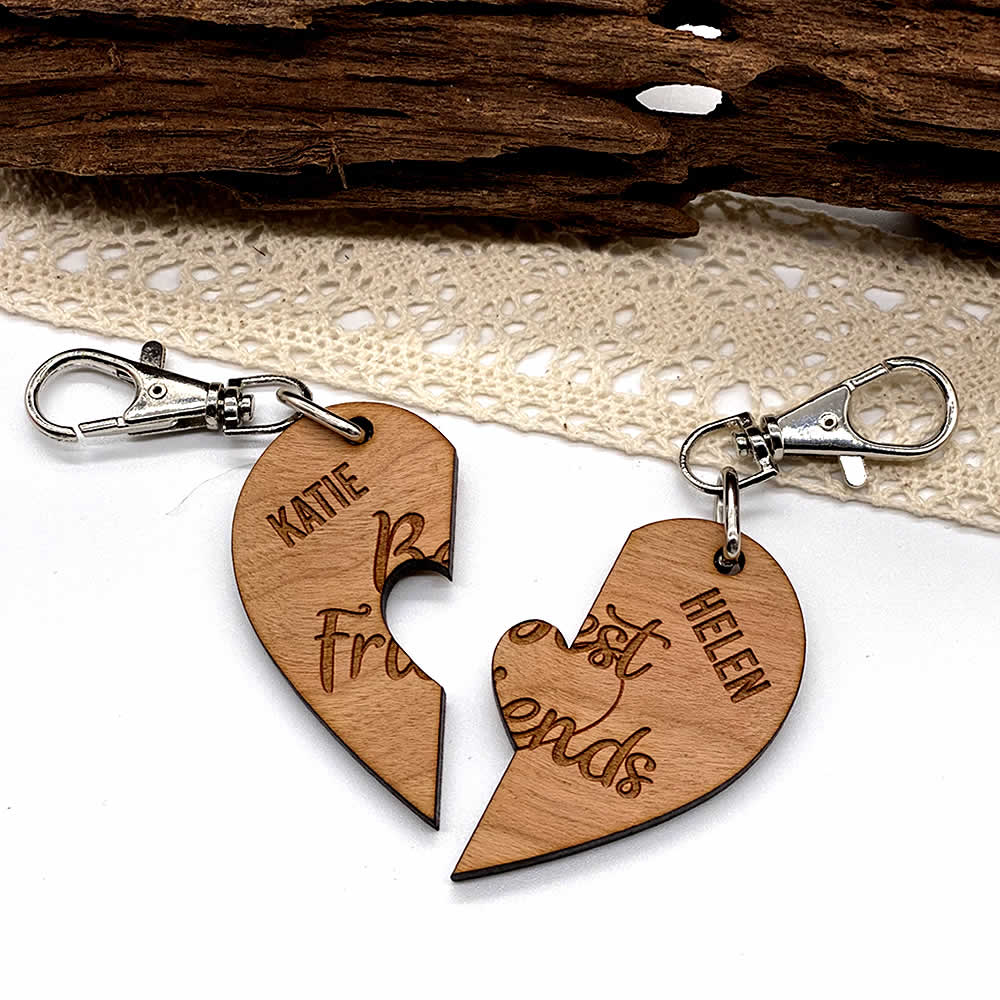 Little Gifts With Love - Set of 2 x Personalised Cherry Wood Best Friends Keyring Set