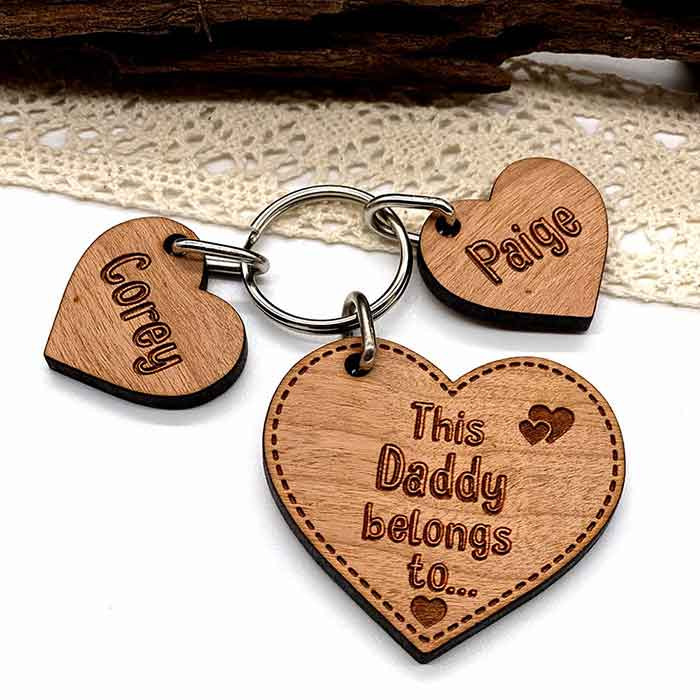 Little Gifts With Love - Personalised Gifts for him Keyring, Daddy Belongs To Father's Day Birthday gift Heart