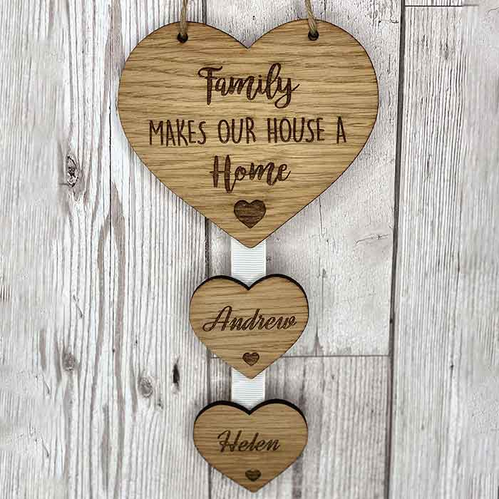 Little Gifts With Love - Personalised Family Make A House A Home Hanging Heart New Home Housewarming Gift