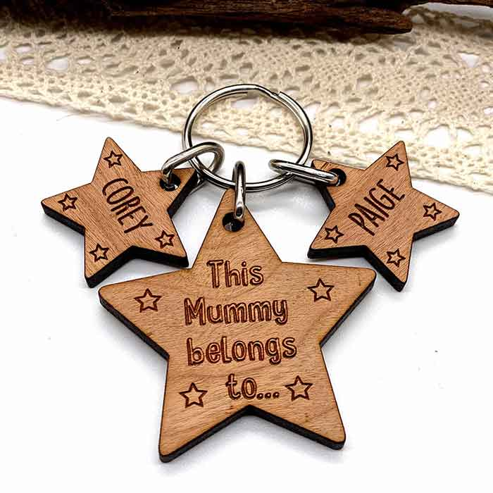 Little Gifts With Love - Personalised Gifts for her Keyring Mummy Belongs To Mothers Day, Birthday gift