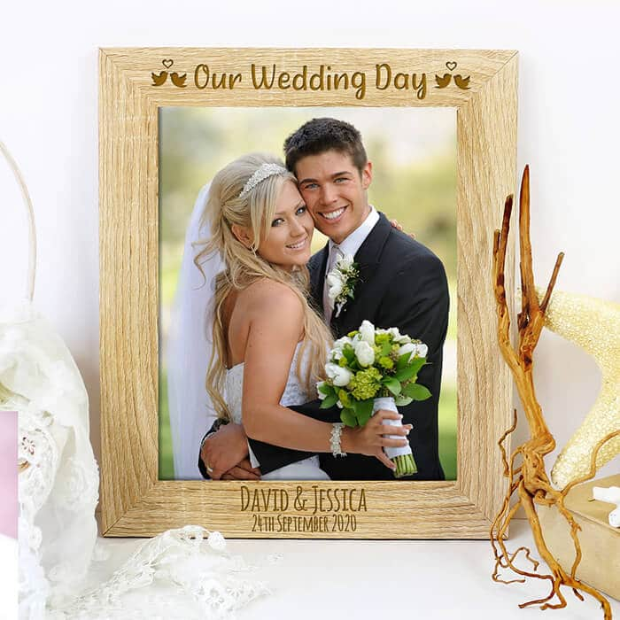Little Gifts With Love - Personalised Wedding Day Quote Photo Frame Wedding Anniversary Engagement Gift