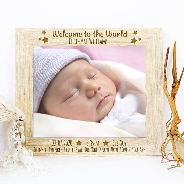 Little Gifts With Love - Personalised Welcome to the World Wooden Photo Picture Frame New Baby Gift