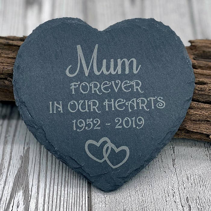 Little Gifts With Love - Personalised Pet Dog Heart Slate Grave Stone Dogs Memorial Plaque Grave Marker