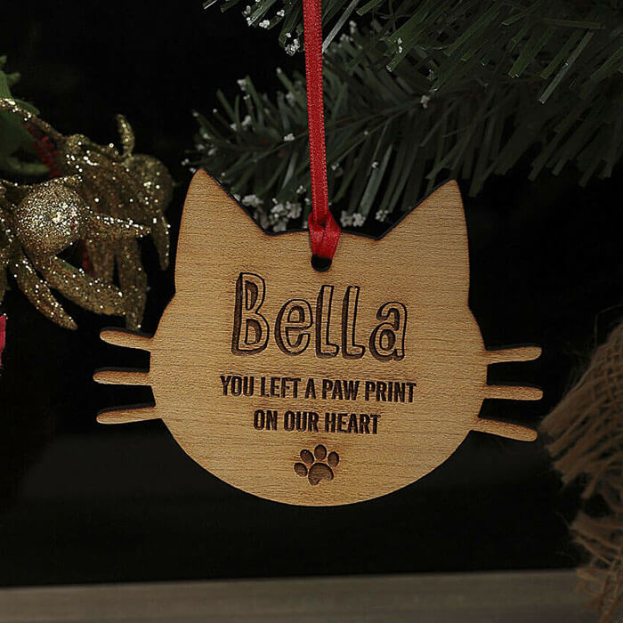Little Gifts With Love - Personalised Cat Pet Memorial Christmas Tree Decoration, Xmas Ornament, Bauble