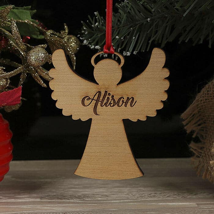 Little Gifts With Love - Personalised Christmas Tree Angel Bauble Decoration Xmas Family Any Name Gift