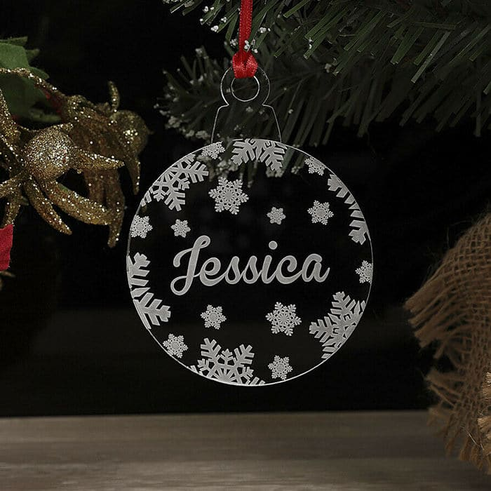 Personalised Snowflake Christmas Tree Decoration Xmas Bauble Ornament Name Gift