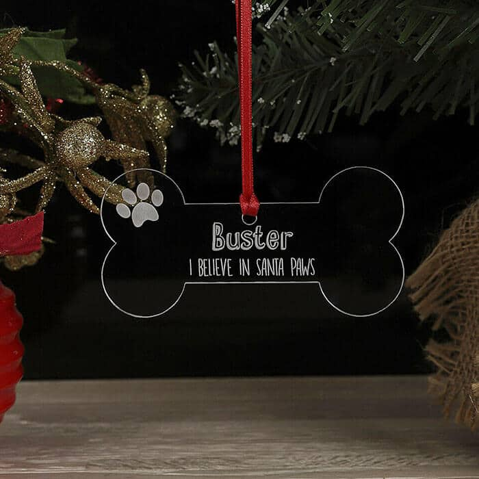 Little Gifts With Love - Personalised Christmas Tree Dog Bone Decoration Xmas Name Ornament, Bauble Gift