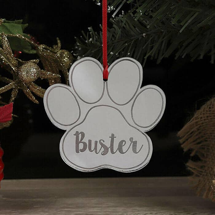Little Gifts With Love - Personalised Christmas Tree Dog, Cat Paw Decoration Xmas Ornament Bauble Gift