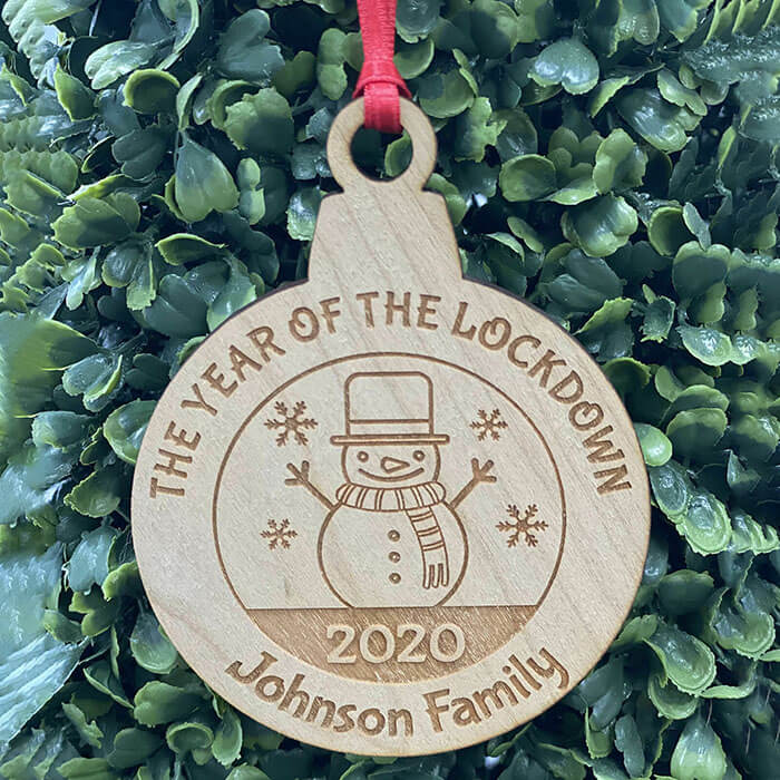 Little Gifts With Love - Personalised Lockdown 2020 Family Christmas Tree Reindeer Decoration Bauble Xmas Gift