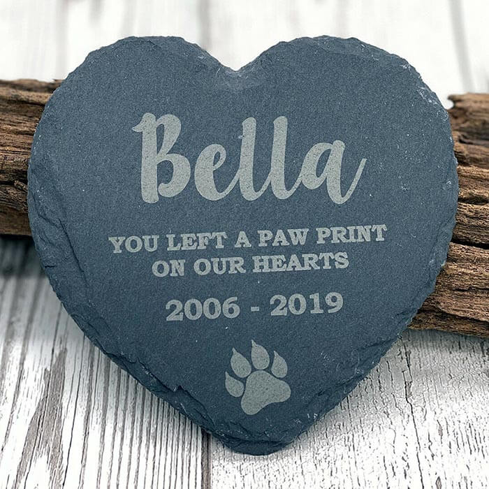 Little Gifts With Love - Personalised Pet Cat Heart Slate Gravestone Memorial Plaque Kitten Grave Marker