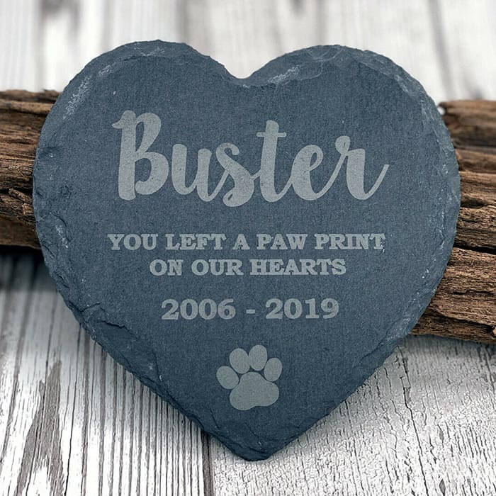 Little Gifts With Love - Forever In Our Heart Personalised Heart Slate Grave Stone Memorial Plaque Marker