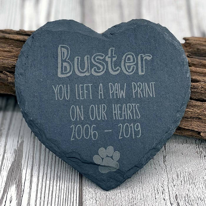 Little Gifts With Love - Personalised Pet Dog Heart Slate Gravestone Dogs Memorial Plaque Grave Marker
