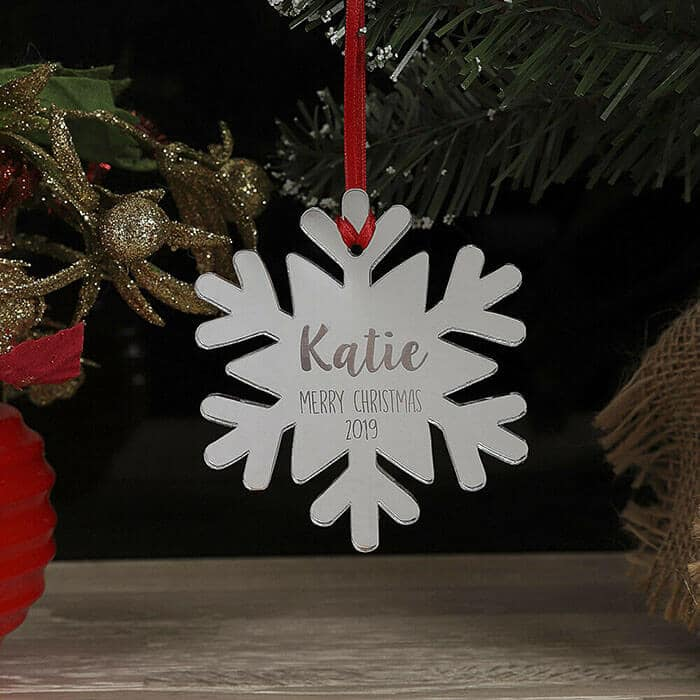 Little Gifts With Love - Personalised Snowflake Christmas Tree Decoration Xmas Bauble Ornament Name Gift
