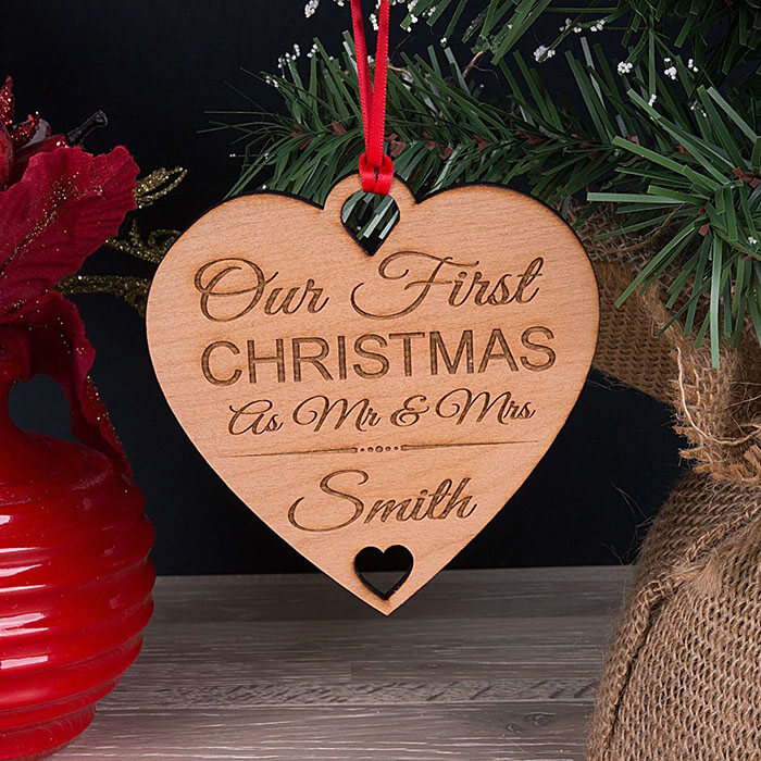Little Gifts With Love - Personalised Our First Xmas As Mr & Mrs Christmas Tree Decoration Bauble