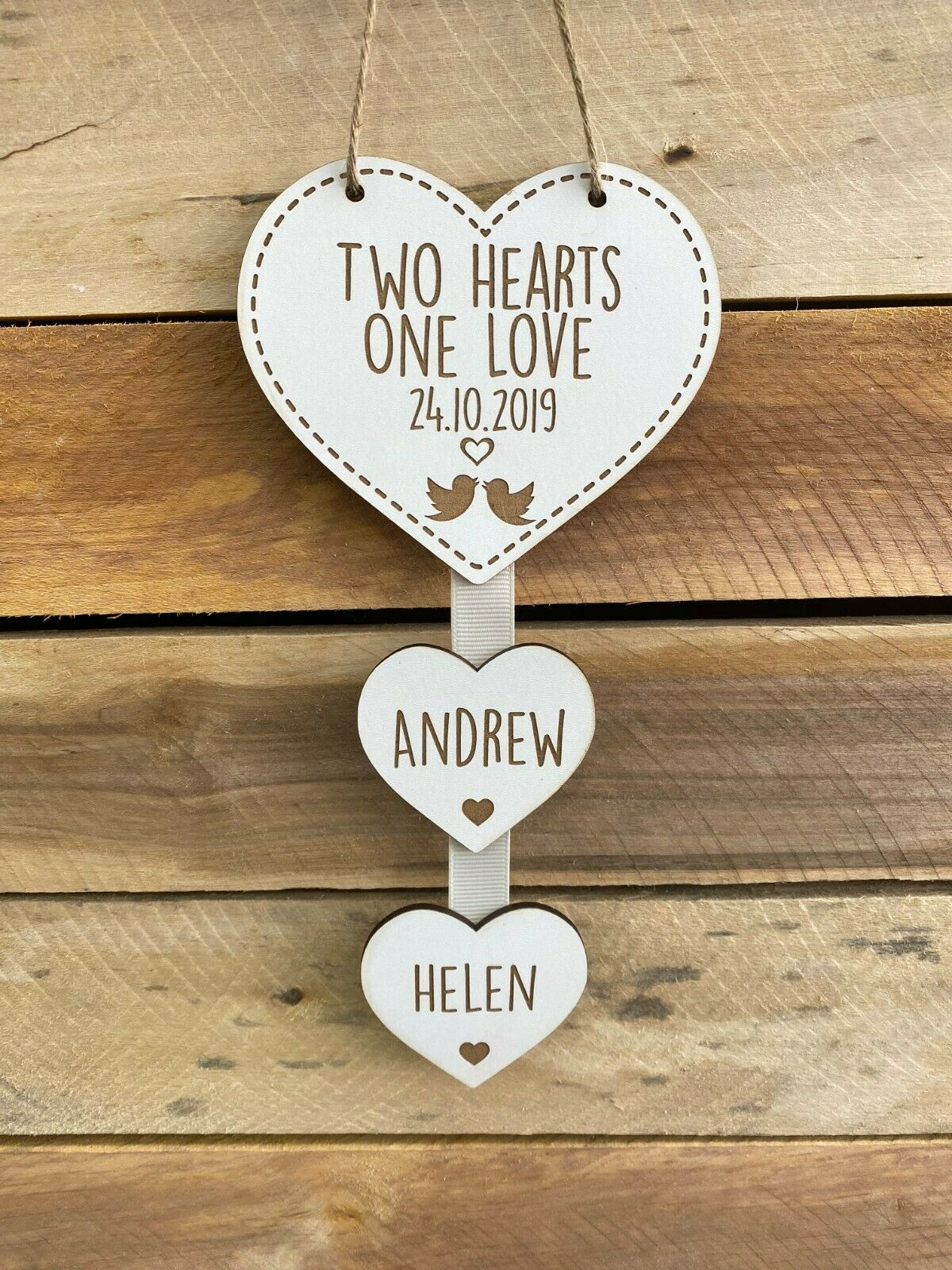 Little Gifts With Love - Personalised White Two Hearts One Love Hanging Heart Wedding Anniversary Valentines Gift