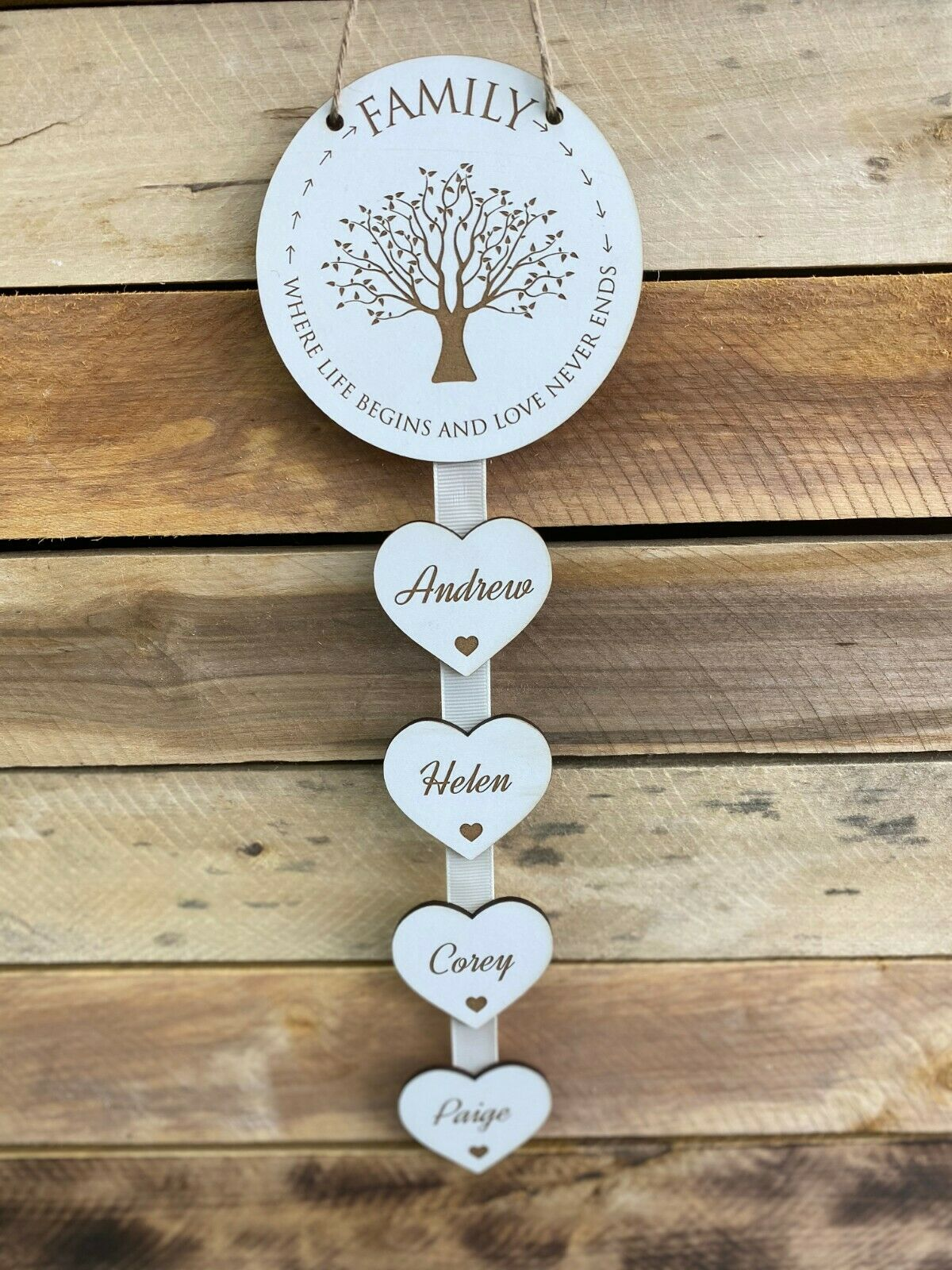 Little Gifts With Love - Personalised White Family Where Life Begins Hanging Heart New Home Housewarming Gift