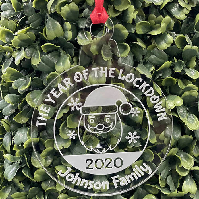 Little Gifts With Love - Personalised Lockdown 2020 Family Christmas Tree Santa Decoration Bauble Xmas Gift