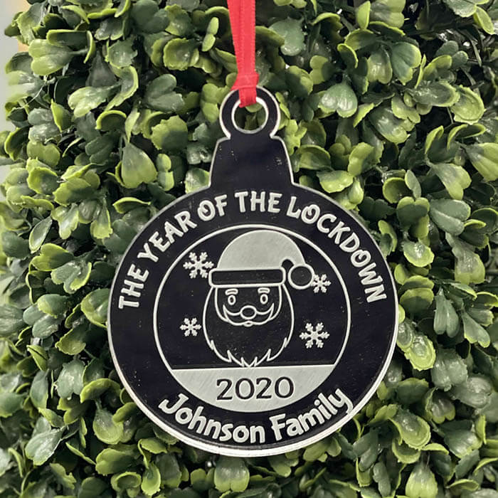Little Gifts With Love - Personalised Lockdown 2020 Family Christmas Decoration Bauble Xmas Gift