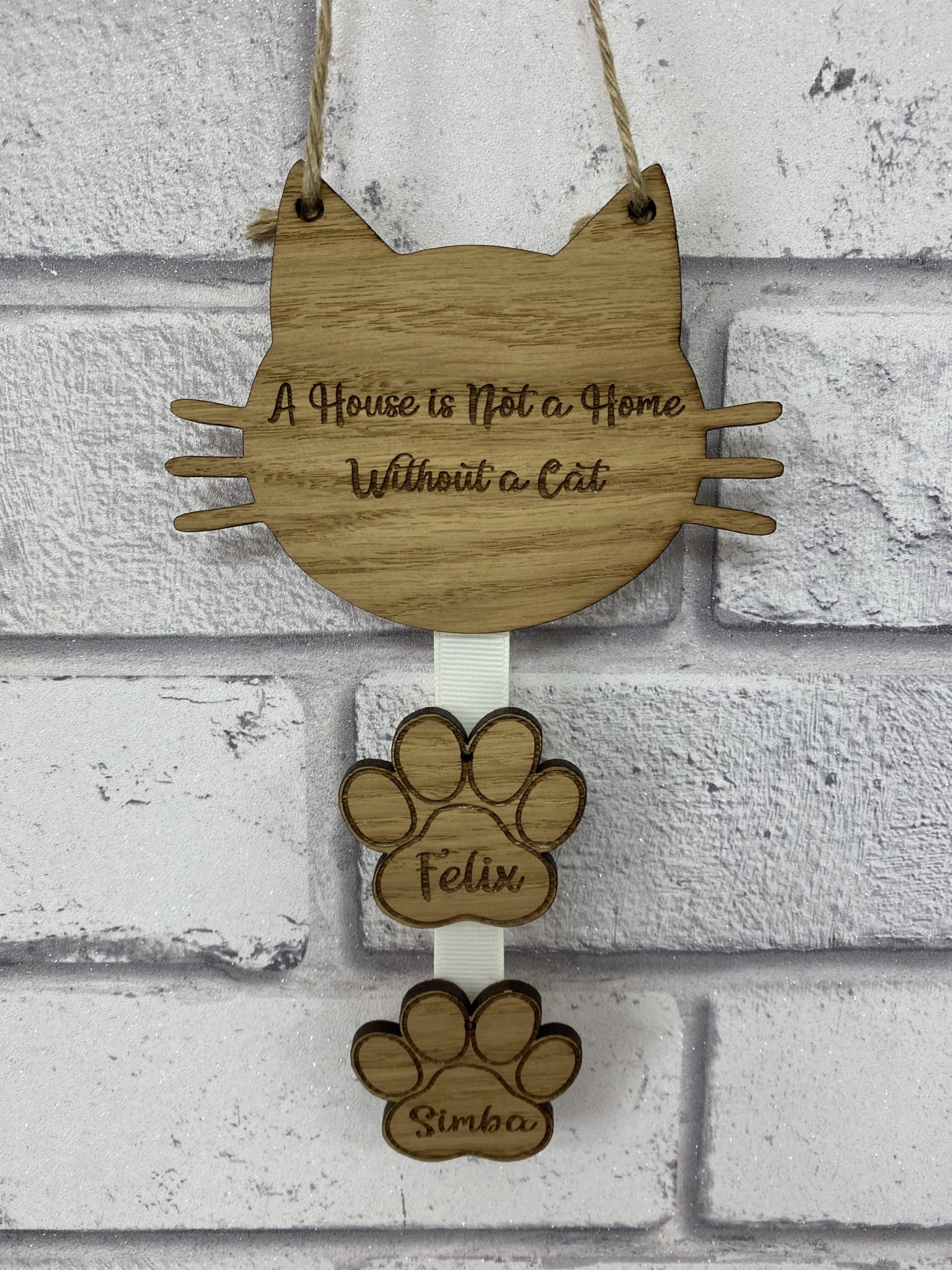 Little Gifts With Love - Personalised Rustic A House is not a Home Without a Cat Wooden Wall Hanging Sign (Copy)
