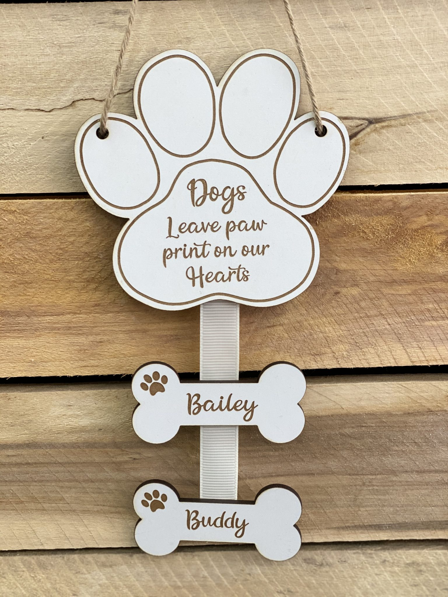 Little Gifts With Love - Personalised White, Dogs leave paw prints on our hearts, Pet memorial hanging sign