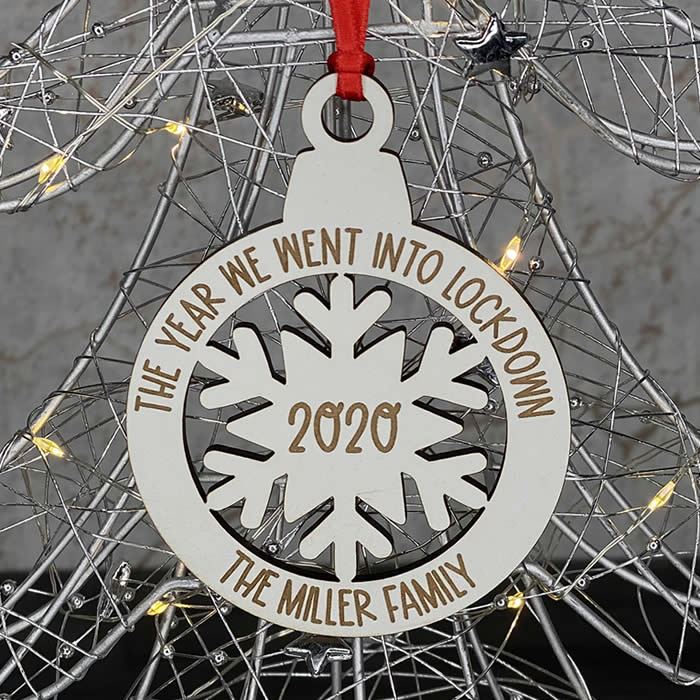 Little Gifts With Love - Personalised White Lockdown 2020 Family Christmas Decoration Bauble Xmas Gift
