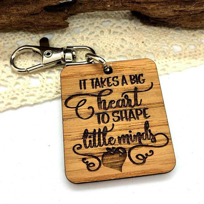 Little Gifts With Love - It Takes A Big Heart To Shape Little Minds, Teacher, Assistant Keyring Gift