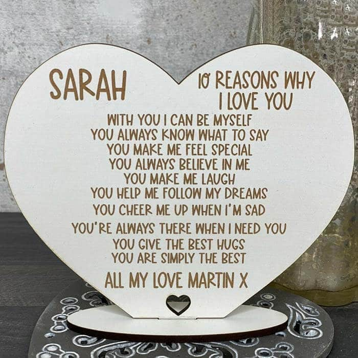 Little Gifts With Love - Personalised 10 Reasons Why I Love You, Valentines, Birthday Gift For Her