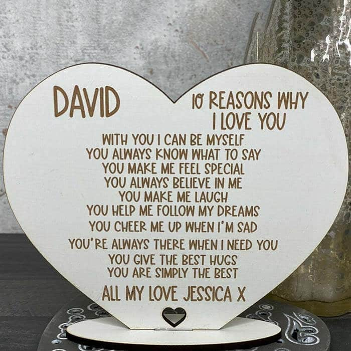 Little Gifts With Love - Personalised 10 Reasons Why I Love You, Valentines, Birthday Gift For Him