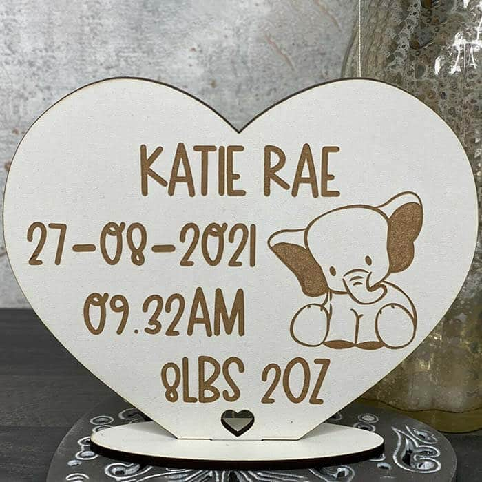 Little Gifts With Love - Personalised Baby Birth, Date, Weight, Time Elephant Heart Stand Keepsake Gift
