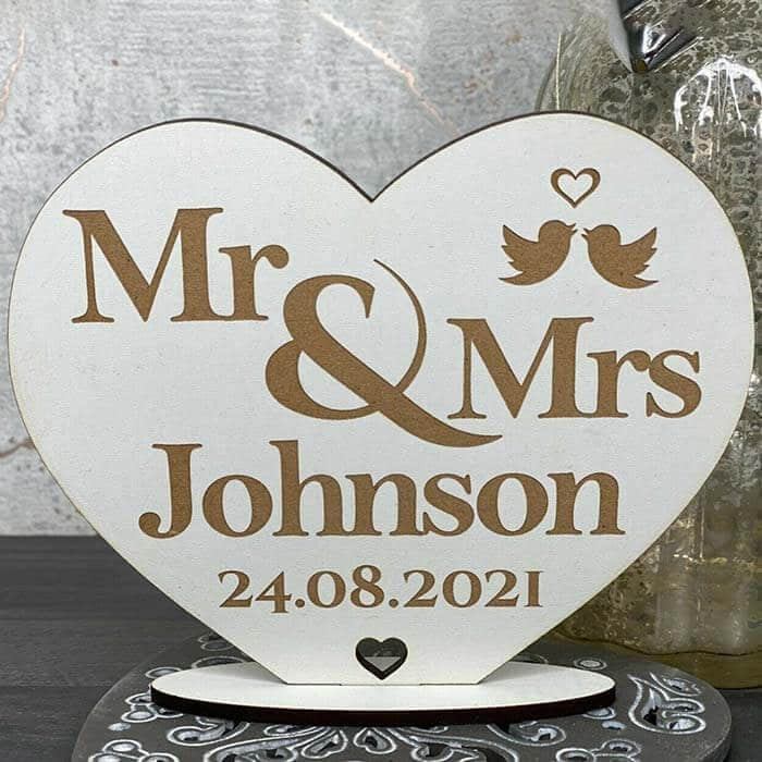 Little Gifts With Love - Personalised Mr & Mrs Valentines Day, Wedding, Anniversary, Birthday Stand Gift