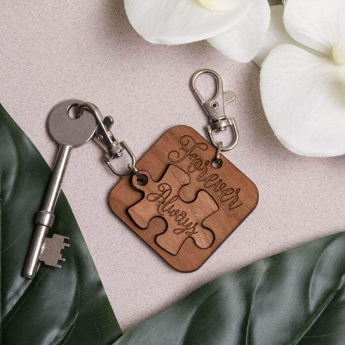 Little Gifts With Love - Set of 2 x Forever & Always Jigsaw Puzzle Valentines, Birthday Keyrings Gift Set