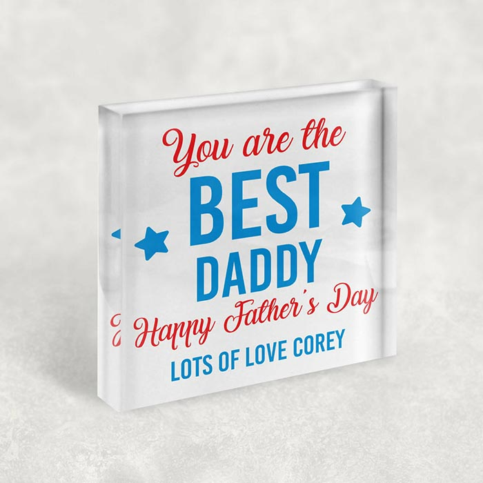 Little Gifts With Love - Personalised Best Dad, Daddy, Step Dad Fathers Day Freestanding Acrylic Block
