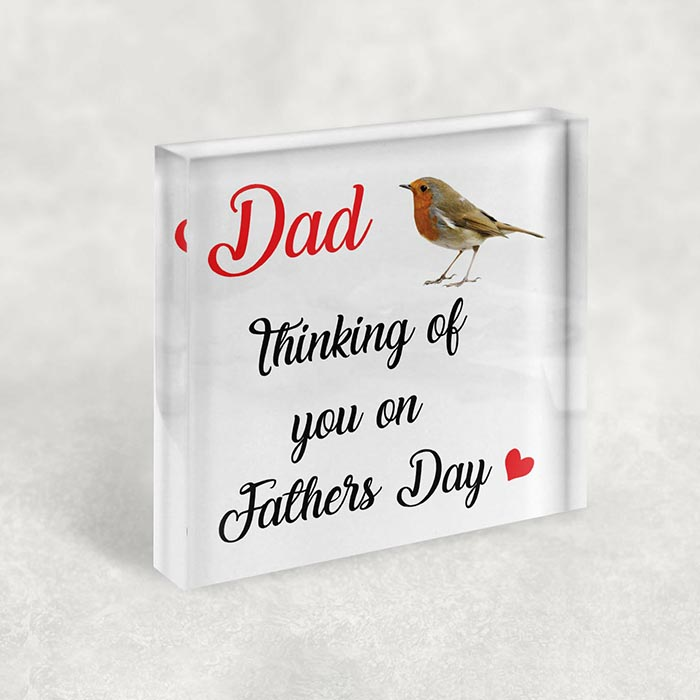 Little Gifts With Love - Personalised Robin Bird Fathers Day Birthday Memorial, Dad Grandad Acrylic Block
