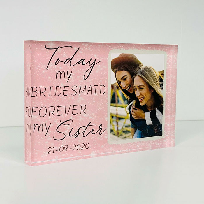 Little Gifts With Love - Personalised Bridesmaid Gift, Wedding Party Freestanding Acrylic Photo Block