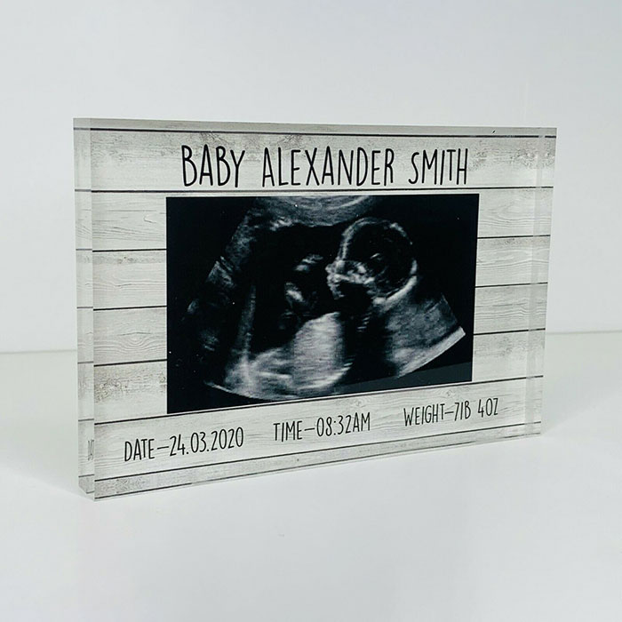 Little Gifts With Love - Personalised First Scan Photo Acrylic Block New Baby Scan, Ultrasound Gift