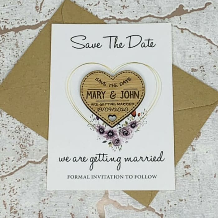 Little Gifts With Love - Personalised Floral Oak Wedding Save The Date Heart Fridge Magnet Card Invites