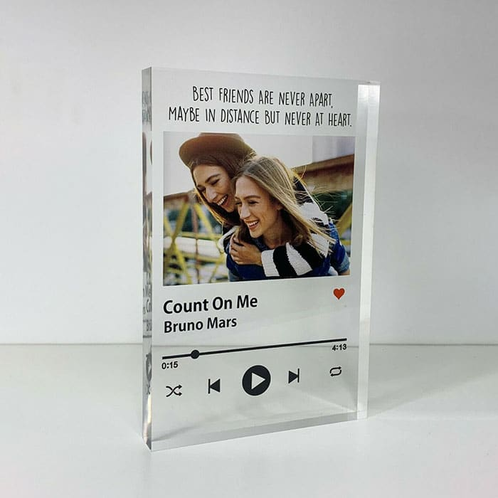 Little Gifts With Love - Personalised Friends Song Track Photo Acrylic Block Birthday, Friendship Gift