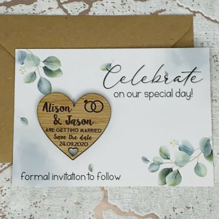 Little Gifts With Love - Personalised Green Leaf Wedding Save The Date Heart Fridge Magnet Card Invite