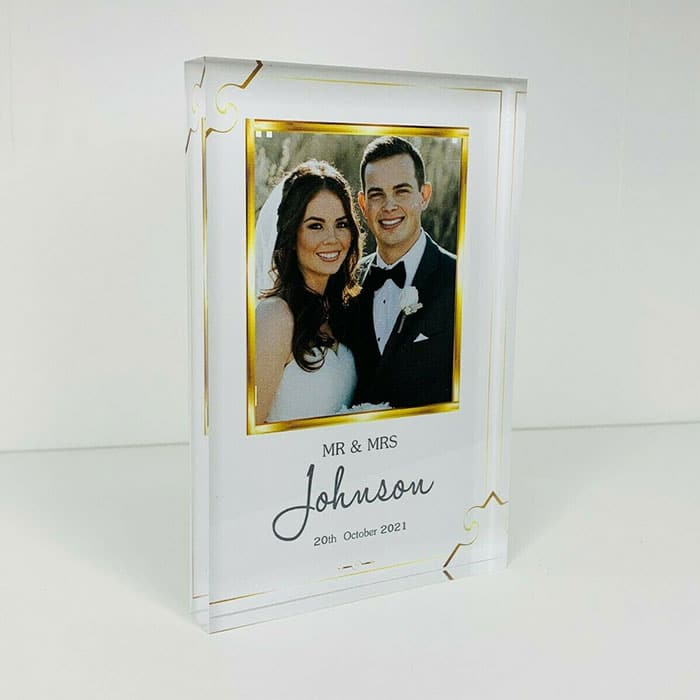Little Gifts With Love - Personalised Mr & Mrs, Wedding Photo Acrylic Block, His & Hers Anniversary Gift