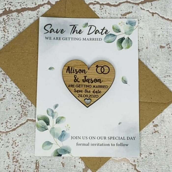 Little Gifts With Love - Personalised Rustic Leaf Wedding Save The Date Heart Fridge Magnet Card Invite