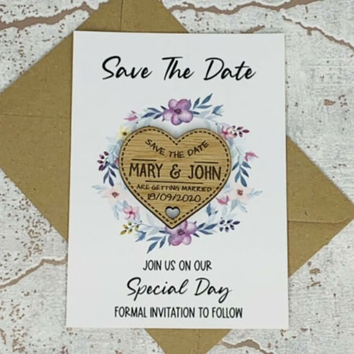 Little Gifts With Love - Personalised Rustic Oak Wedding Save The Date Heart Fridge Magnet Card Invite