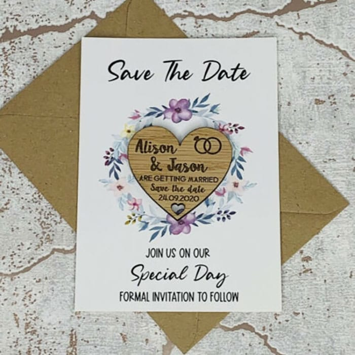 Little Gifts With Love - Personalised Rustic Wedding Save The Date Heart Fridge Magnet Card Invitation