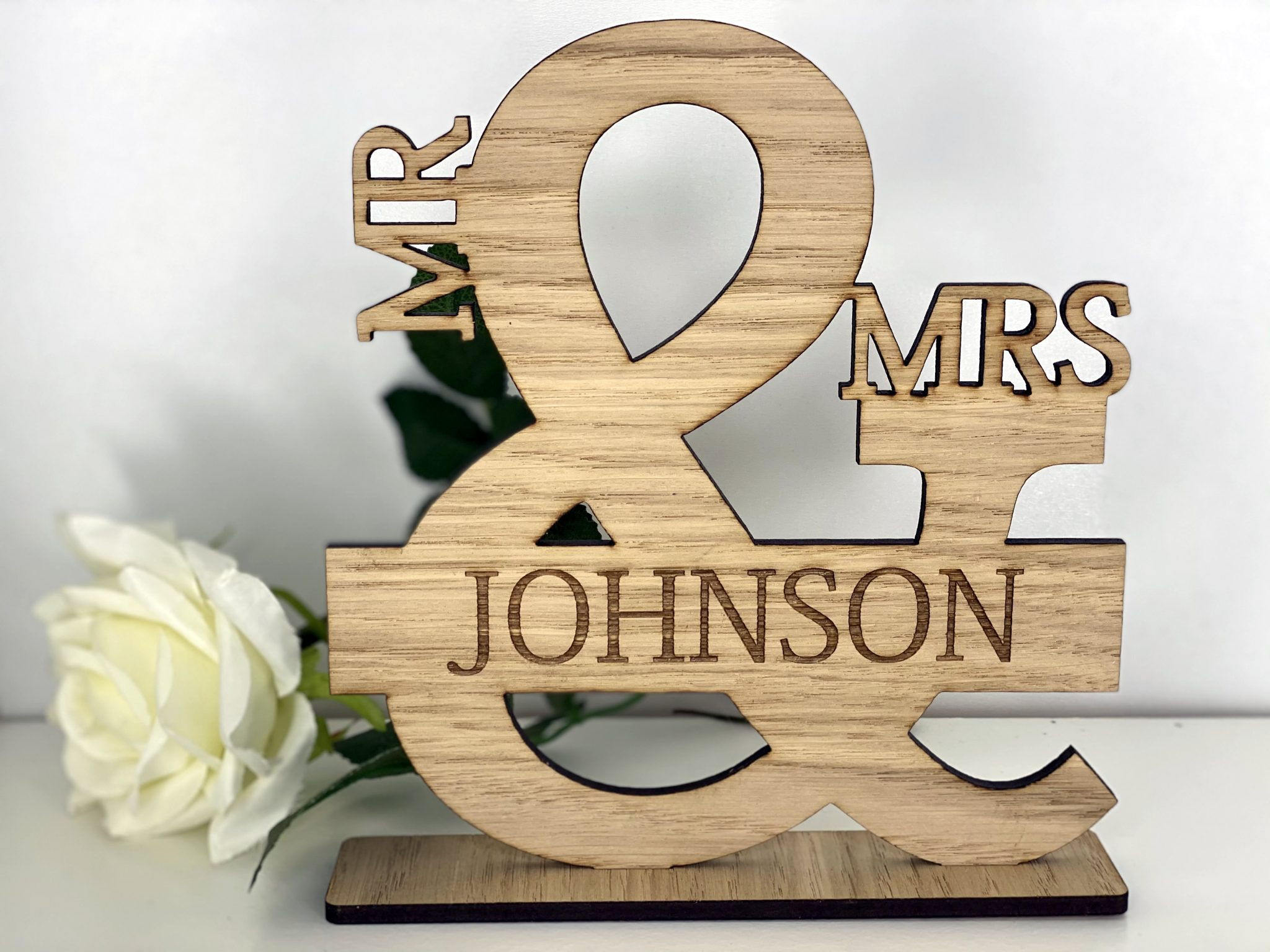 Little Gifts With Love - Personalised Mr & Mrs Oak Wooden Top Table Sign, Stand Wedding Reception Gift