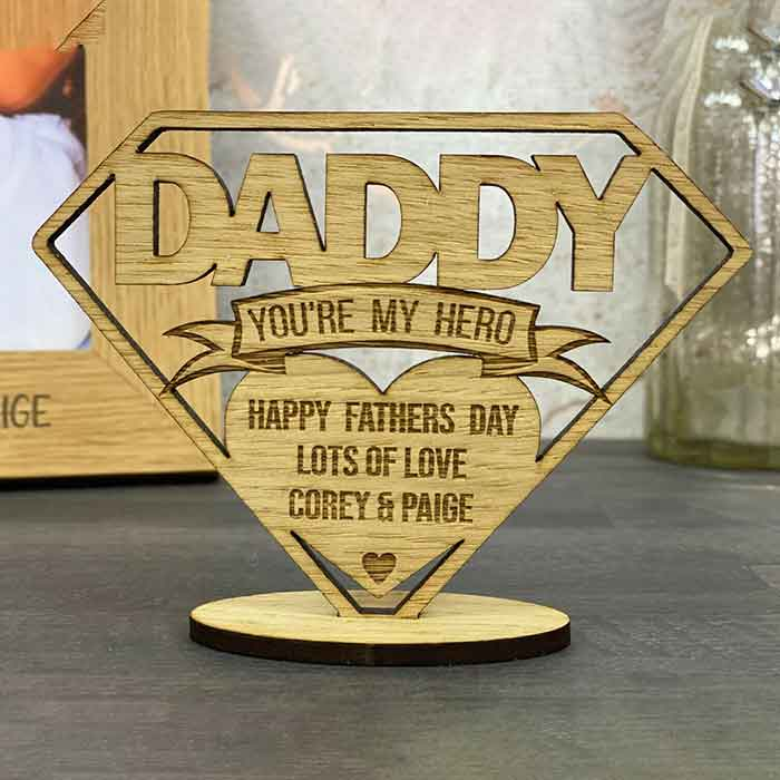 Little Gifts With Love - Personalised Fathers Day, Birthday Gift Dad Daddy Oak Wooden Plaque Freestanding
