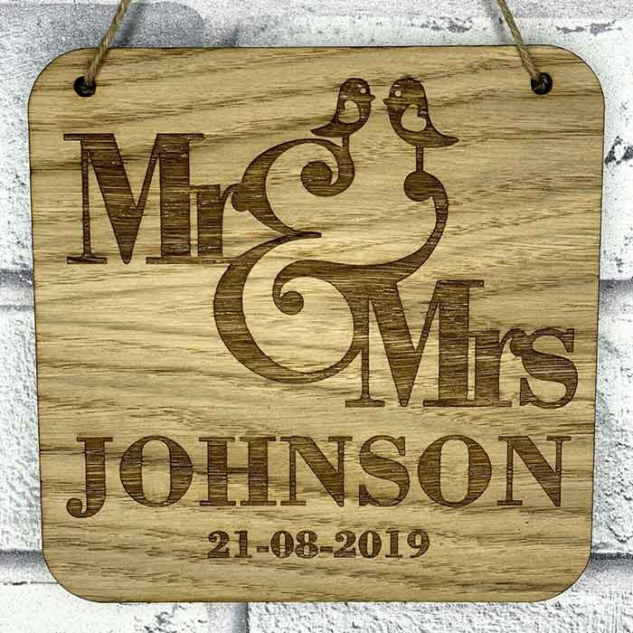 Little Gifts With Love - Personalised Mr & Mrs Surname and Wedding Date Hanging Sign Bride & Groom Gift